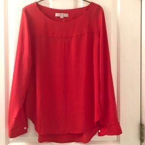 Loft Long Sleeve Red Shirt Size Small